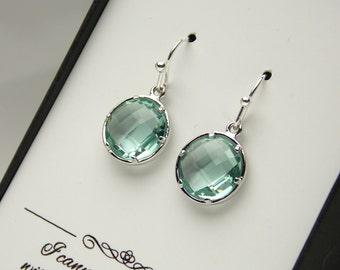 Aqua Green Earrings, Green Mint, Bridesmaid Earrings, Silver, Wedding Jewelry, Prasiolite, Erinite, Bridesmaid Jewelry, Bridesmaid Gifts