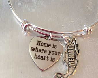 Mexico-Home is where your heart is-Bangle bracelet