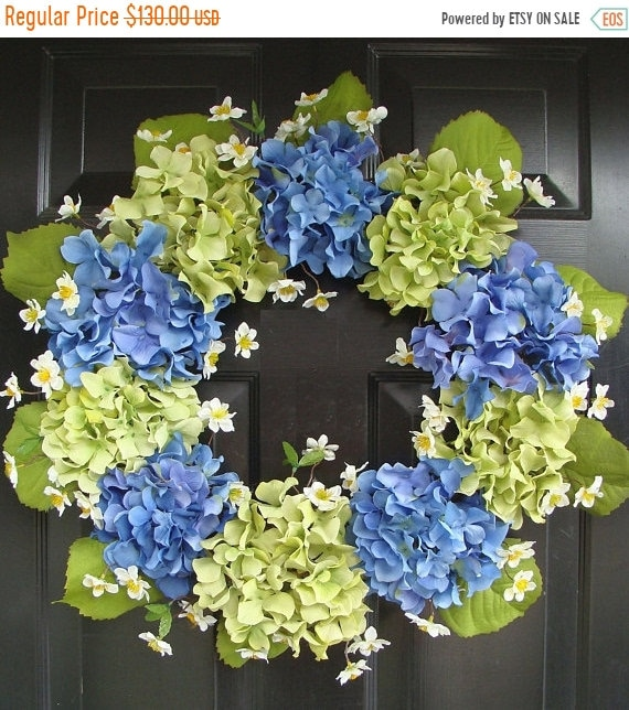 SUMMER WREATH SALE Spring Wreath- Blue Hydrangea Wreath- Summer Wreaths- Summer Wreath for Door