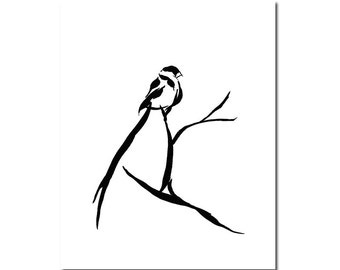 Whydah Bird Black and White Giclee Print Minimalist Line Abstract