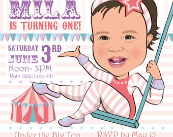 Girl's Circus Birthday Party Invitation - Illustrated from your photo DIGITAL FILE