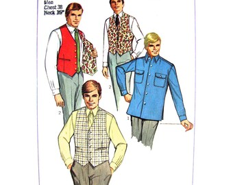 Mens 60s Sport & Shirt Vest Pattern Simplicity 7973 Reversible Waistcoat Mens Chest 38 Vintage Sewing Pattern