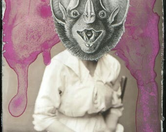 Bat Lady 1 - Small framed Original Mixed-media art Surreal Photography Fabric print Bat mask Vintage illustration Watercolor paint B&W Pink