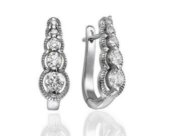 Unique Diamond Earrings, 14K White Gold Dangle Earrings, 0.66 CT Drop Earrings, Bridal Earrings, Earrings Dangle