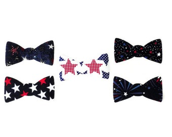 Iron On Fabric Applique, Boys Bow Tie, Patriotic Iron on T Shirt Applique, DIY Kit, Applique Designs, 4th of July T Shirt, Gift for Boys