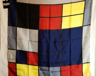 Vtg NOS 1995 Silk MOMA Scarf Piet Mondrian Composition C Composition in Yellow, Red, Blue-Gray, Blue and Black