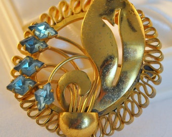Vintage Art Deco Brooch Gold Plated and Blue Crystals