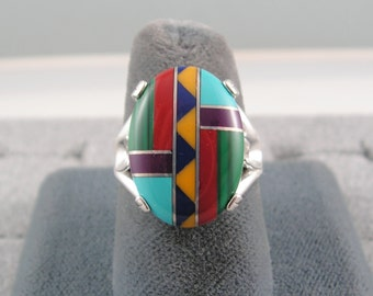 Huge Vintage 18X13mm SOUTHWEST DESIGN INLAID Channel Set Mosaic Multi Stone in Modern Mount .925 Sterling Silver Ring