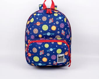 BACKPACK, kids backpack, toddler backpack, boys backpack, pre-k backpack, preschool backpack, planets backpack by Rakpack - Blue
