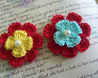 Red Crochet Flower Appliques With Assorted Center. Handmade Crochet Flower Appliques.