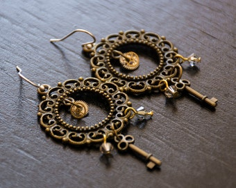 Steampunk Brass Earrings - Crystals Keys and Gears - Sterling Silver Earwires - Victorian Inspired - Post-apocalyptic Jewelry