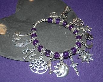 pagan charm and amethyst gem stone bracelet