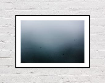 Foggy Lake Print, Lake Printable, Ducks Print, Lake House Decor, Lake Print, Grey Wall Art, Blue Water Print, Lake Ducks Photo