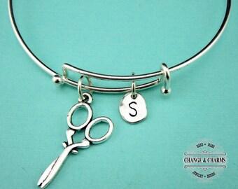 Scissor Bangle, Scissor Bracelet, Scissor Charm, Hairdresser Gift, Hair Sylist Gift, Charm Bracelet, Personalized,Silver Plated Bangle, Gift