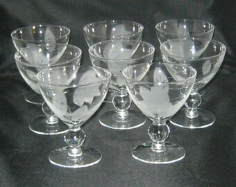 Set Of 8 Candlewick Style Glasses With Etched Leaves