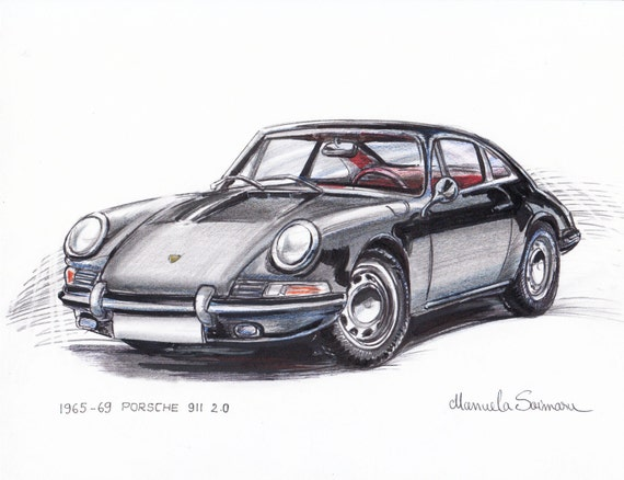 Porsche 911 Print Christmas Gift German Car Drawing