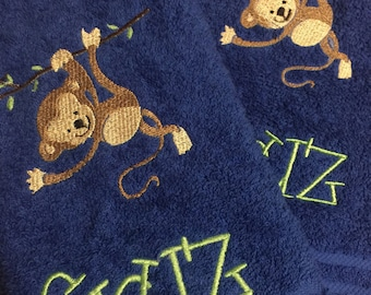Personalized baby monkey bath towels