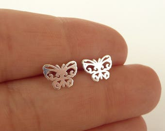 Butterfly Stud Earrings, Sterling Silver Stud Earrings, Tiny Butterfly Earrings, Sterling Silver Studs, 925 silver jewelry