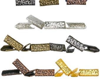 16mm or 5/8 inch NO loop Ribbon Clamps Ends Crimps - 20 pieces in Mixed Finishes - Artisan Series