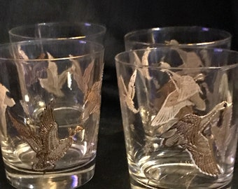 Vintage Cocktail Glasses Glass Gold Raised Birds