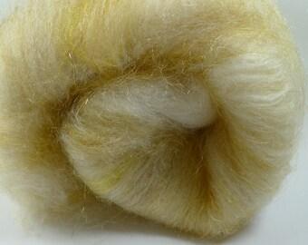 Golden Slippers  Batt 80/20 Merino/ Silk, Angelina, and Firestar, 2.4 oz (SKU30)