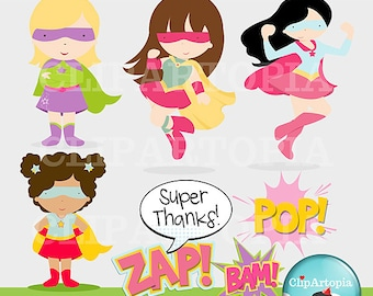 Super Hero Girls Supergirls Cute Digital Clipart for Card Design, Scrapbooking, and Invitations / INSTANT DOWNLOAD