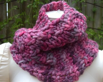 Hand Knit Cowl, Malabrigo Rasta Yarn, Super Squishy, Close Fitting Cowl, Pinks/Greys/Purples, Wool Cowl