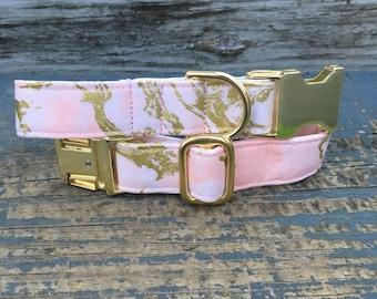 Marble Dog Collar, Dog Collar Marble, Gold Dog Collar, Pink Dog Collar, Dog Collar Gold, Dog Collar Pink, Dog Collar for girls, Dog Collars,