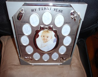 Frames Silver Plated My First Year Picture Frame NEW Baby Girl