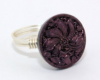Purple Shimmer Button Ring with Silver Wire