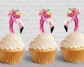 Flamingo silhouette Cupca...
