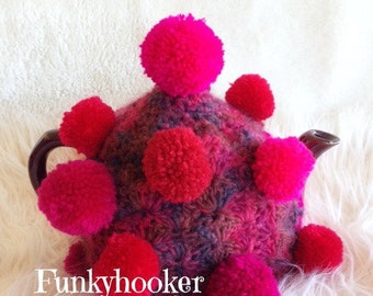 Pom pom Tea Cosy Large 4-6 Cup Handmade Made To Order- Pick Your own Colours- Custom Made