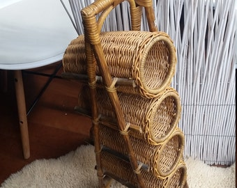 Vintage Cane and Rattan Wine holder, MCM, Swedish, Franco Albini Style