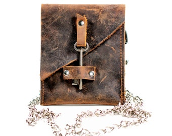 Leather Waist Pouch with Antique Skeleton Key - Belted Wallet - Chain Wallet Fanny Pack - Hip Belt Wallet- IN STOCK
