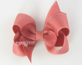 Dusty Rose Hair Bow - Baby Toddler Girl - Solid Color 3 Inch Boutique Bow on Alligator Clip Barrette