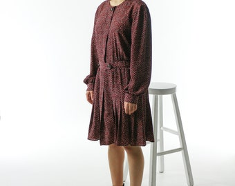 Black and Red Polkadot Dress / Long Sleeve Pleated Dress / Fall Delicate Dress