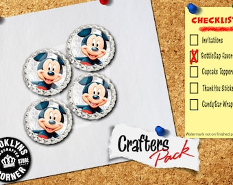 Mickey Mouse Inspired - Crafters Pack - Set of 4 Flattened Bottle Caps - For Crafting, Hair Bows, Pendants, Magnets