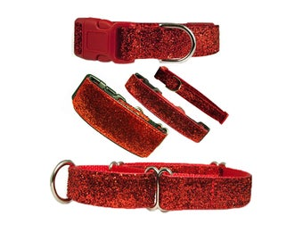 """Bling Dog Collar 5/8"""", 3/4"""", 1"""" or 1.5"""" Red Glitter Buckle or Martingale Style Dog Collar"""