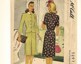 """A Two-Piece Suit Dress Pattern for Women: Peplum Top with Variations, and Gored Skirt w/ Front Pleat - Retro Size 16, Bust 34"""" • McCall 5297"""