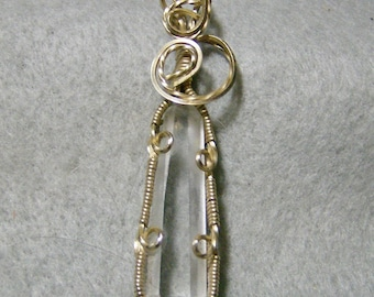 Wire Wrapped Pendant - Handmade Transparent Quartz Crystal Pendant in 14k Gold Filled Wire by JewelryArtistry - P746