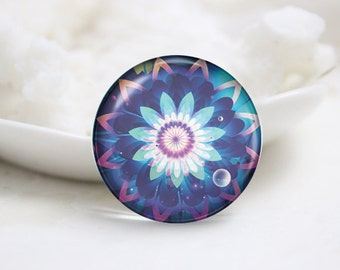 Handmade Round Glass Photo Cabochons Image Glass Cover-Flower (P3073)