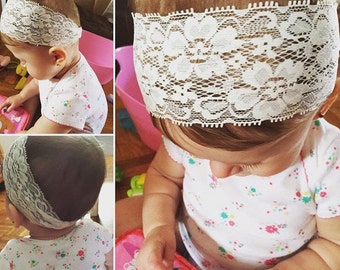 Baby Lace Headband, Boho Cream headband, baby headband, lace headband