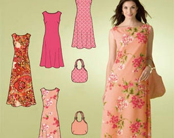 Misses' Dress and Handbag Sewing Pattern Simplicity 2952 Plus and Regular Size 10-22 Bust 32-44 inches UNCUT