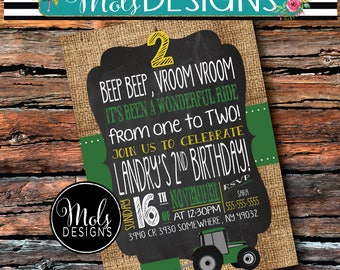Any Color BOY TRACTOR BIRTHDAY Oh Deer Put them in Gear Baby Shower Country Farm Animal 1st 2nd 3rd Burlap Green Yellow Blue Grey Invitation