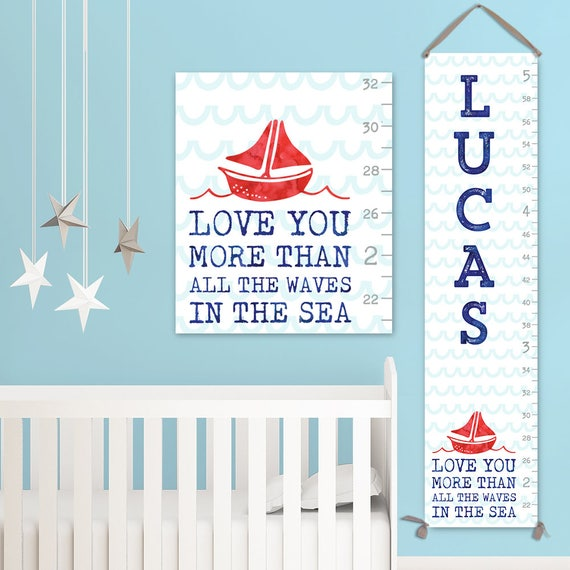 Nautical Growth Chart - Canvas Personalized Growth Chart, Boy Growth Chart, Nautical Nursery Decor - GC3010S