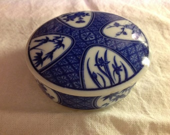 Vintage Takahashi San Francisco Blue & White Trinket Box