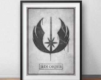 Star Wars Art Print, The Jedi Order Graffiti, Movie Poster,