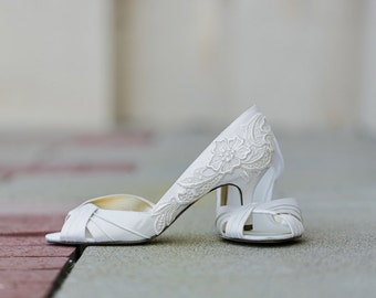 Ivory Wedding Shoes   Ivory Bridal Shoes, Ivory Heels,Bride,Bridal Heels,Wedding  Heels,Low Heels,Ivory Bridal Peep Toe Shoes With Ivory Lace