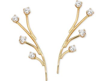 Diamond Spray Ear Pins - GOLD - Fall - Holiday Gift - Ear Crawlers - Gift for friend - Winter - Valentines Day - Sweetest Day  - Wedding