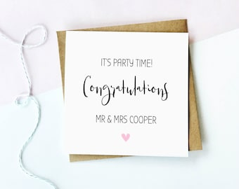 Congratulations Card, Party Time Wedding Card, Personalised Engagement Card, Personalised Wedding Card, Personalized Wedding Card, Love Card